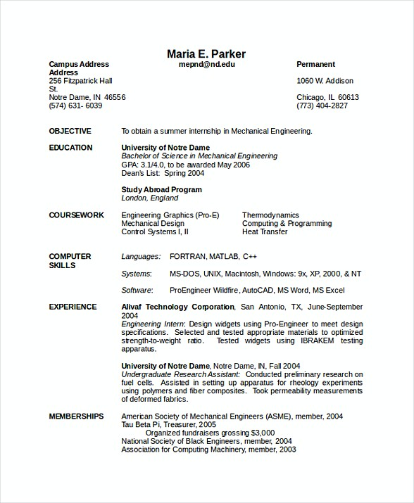 Mechanical Engineering Resume  Software Engineering Manager Resume