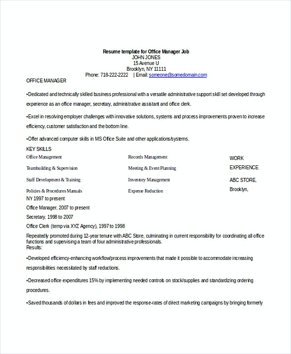 Office Manager Job Resume