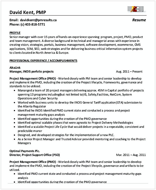 PMP entry level project Management Resume
