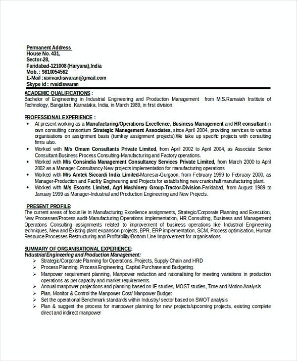 Production Manager Resume Doc