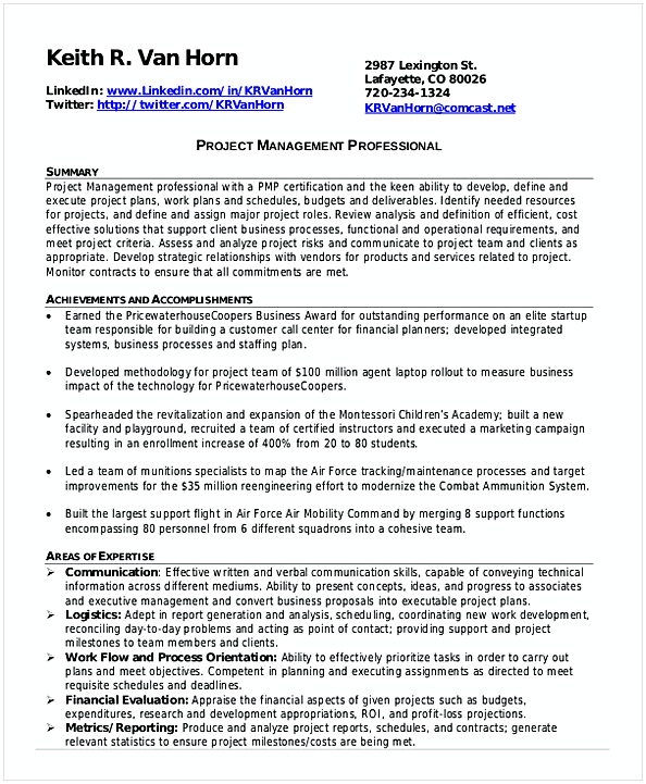 Professional Project Management Resume