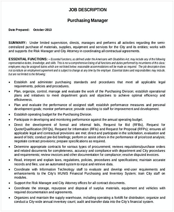 Purchasing Manager Job Description Template  Purchasing Manager Resume