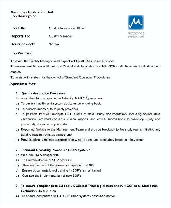 Quality Assurance Officer Job Description