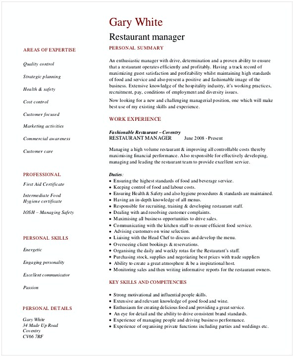 Restaurant General Manager Resume 1
