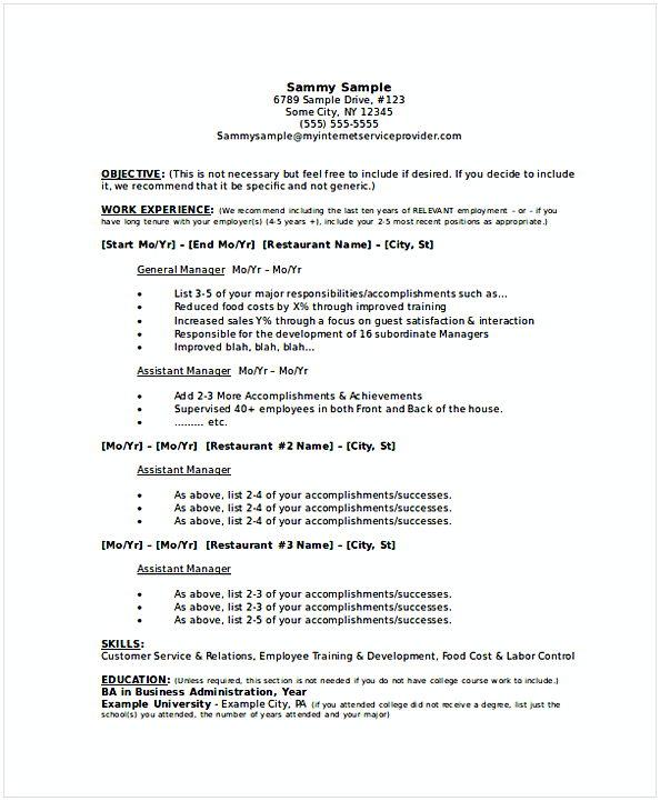 Restaurant General Manager Resume 2