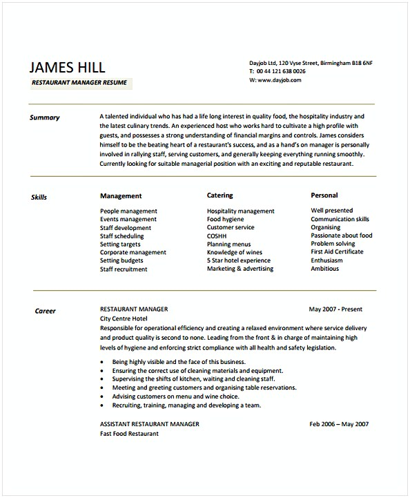 Restaurant Manager Resume Sample 1