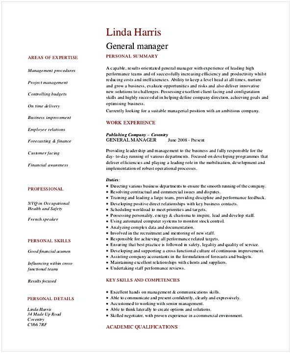 Retail General Manager Resume