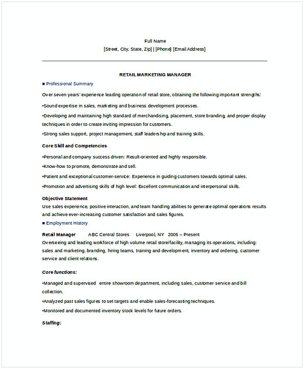 Retail Marketing Manager Resume  Retail Marketing Resume