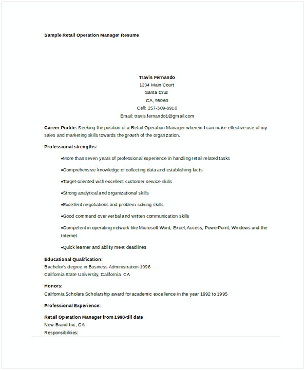 retail operations manager resume sample - Retail Management Resume Examples
