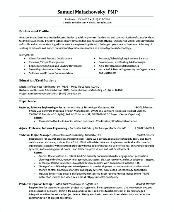 Retail Project Manager Resume Format