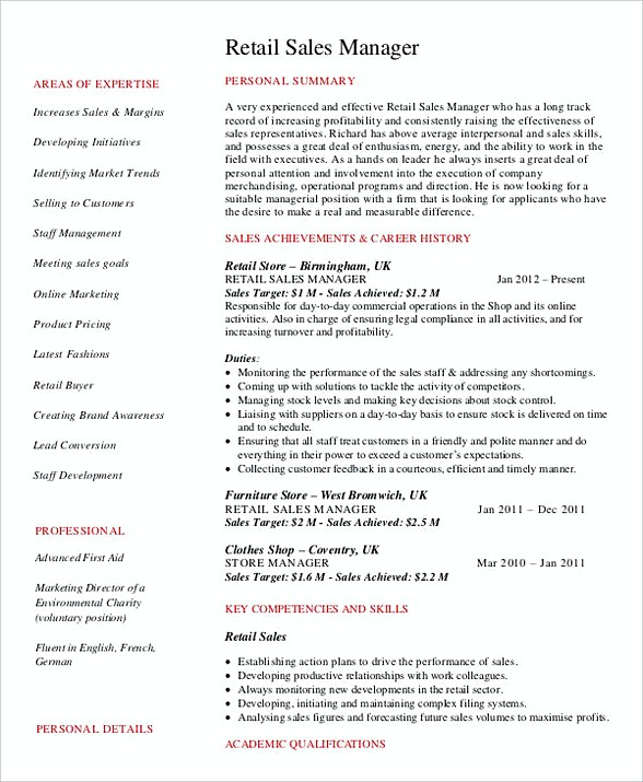 Retail Sales Manager Resume 1