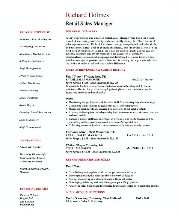 Retail Sales Manager Resume In PDF