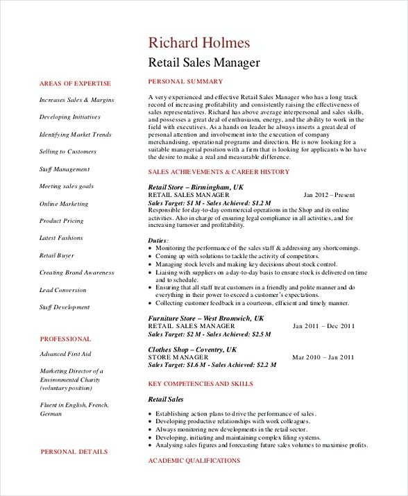Sales and marketing manager resume examples