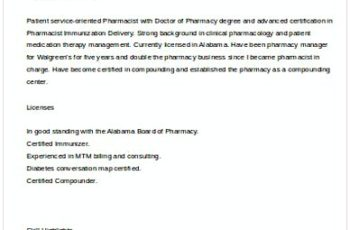 Sample Pharmacist Manager Resume