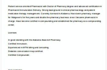 Sample Pharmacist Manager Resume