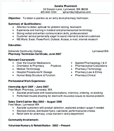 Sample Pharmacy Technician Resume