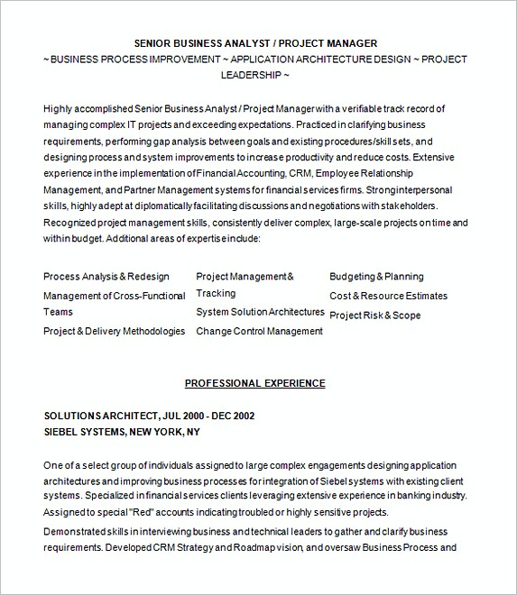 Sample Resume For Business Analyist