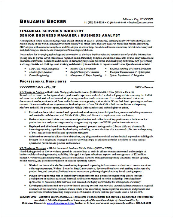 entry level business analyst resume