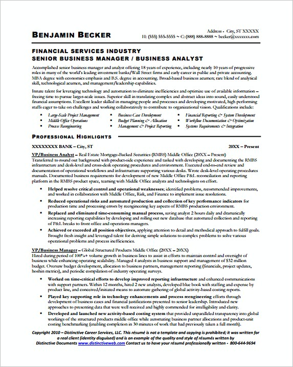 Sample Senior Business Manager Analyst Resume