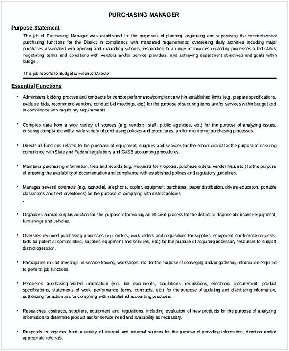School District Purchasing Manager Job Description Template