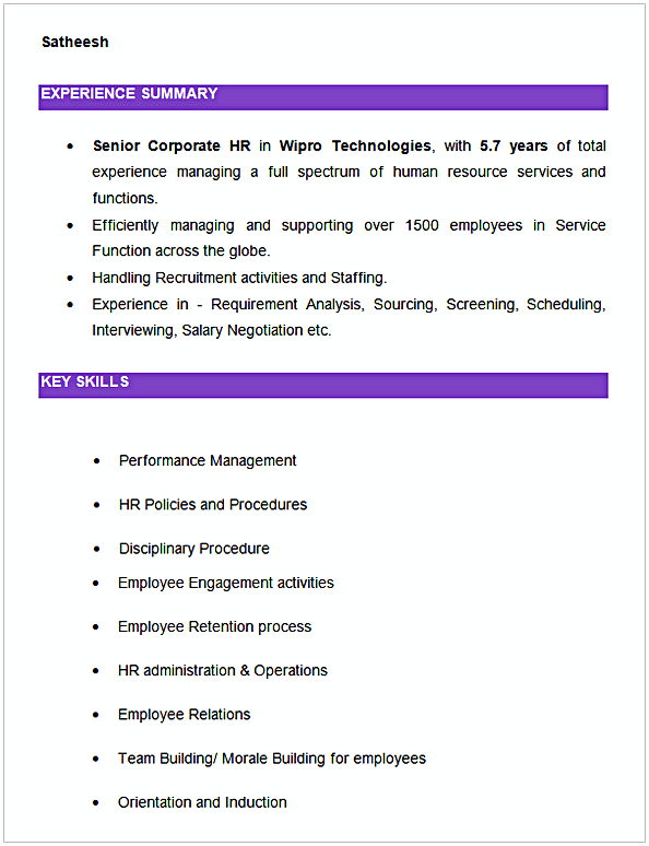 Senior Corporate HR Resume Example
