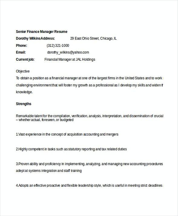 Senior Finance Manager Resume