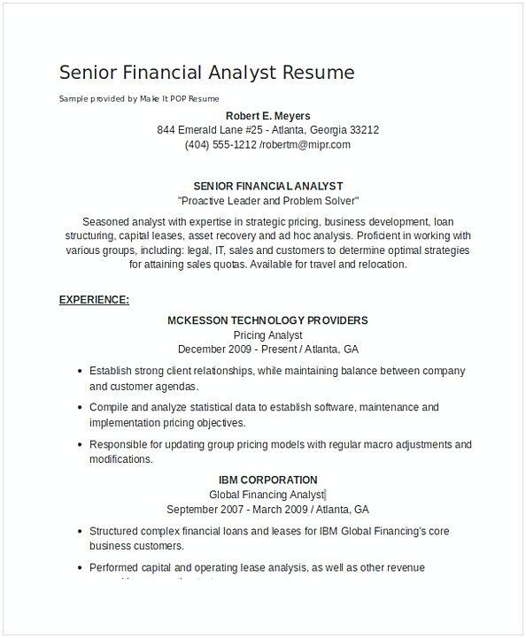 Senior Financial Analyst Resume 1