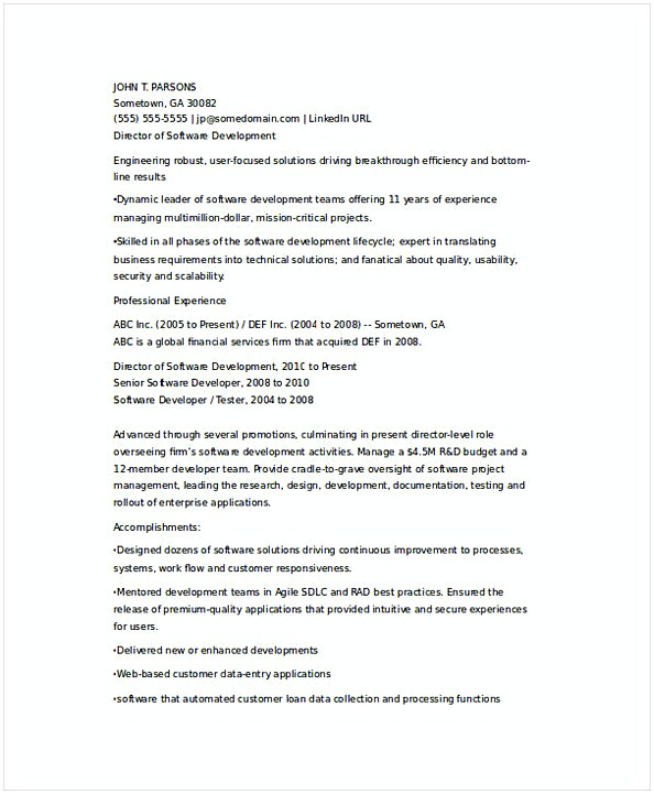 Senior IT Developer Resume