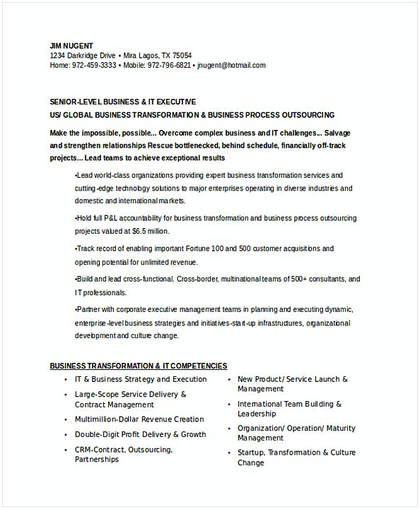 Senior IT Executive Resume