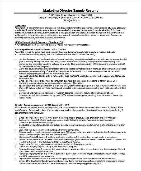 Senior Marketing Manager Resume