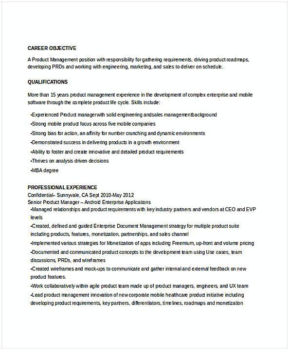 Senior Product Manager Resume 1