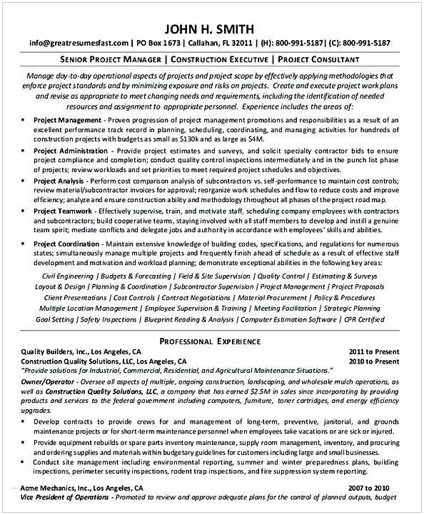 Senior Project Management Resume