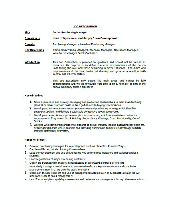 Senior Purchasing Manager Job Description Template