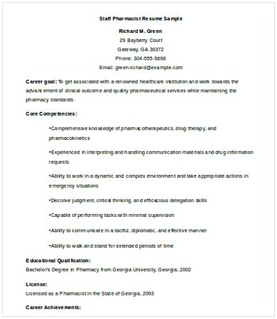 Staff Pharmacist Resume