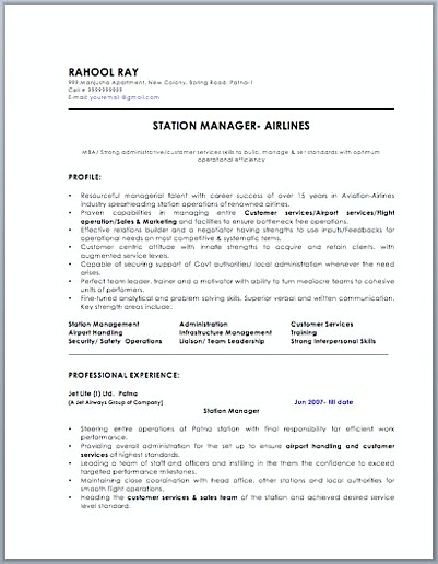 Station Manager Resume