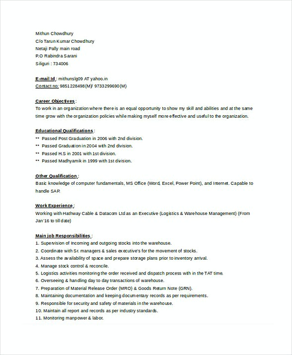 Store Manager Resume 1