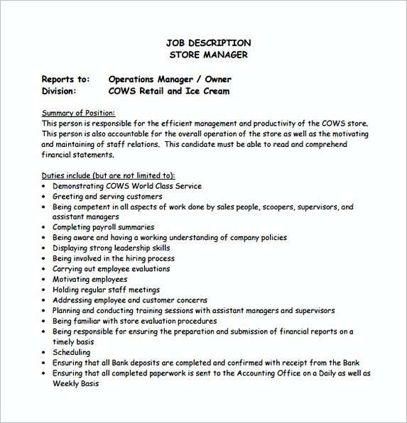 Store Operation Manager Job Description Free Template
