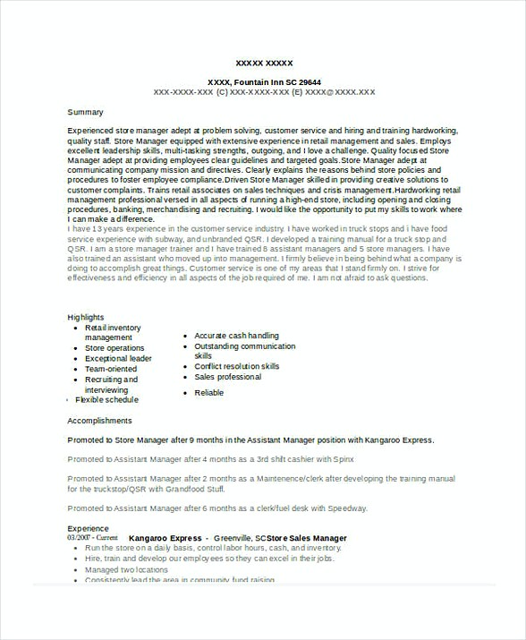 Store Sales Manager Resume 1