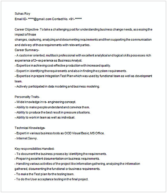 business analyst resume sample 1