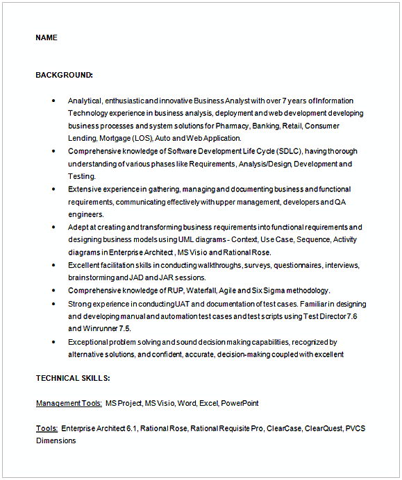 business analyst sample resume 1