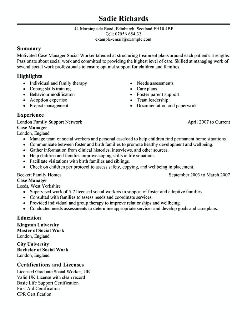 case manager social services
