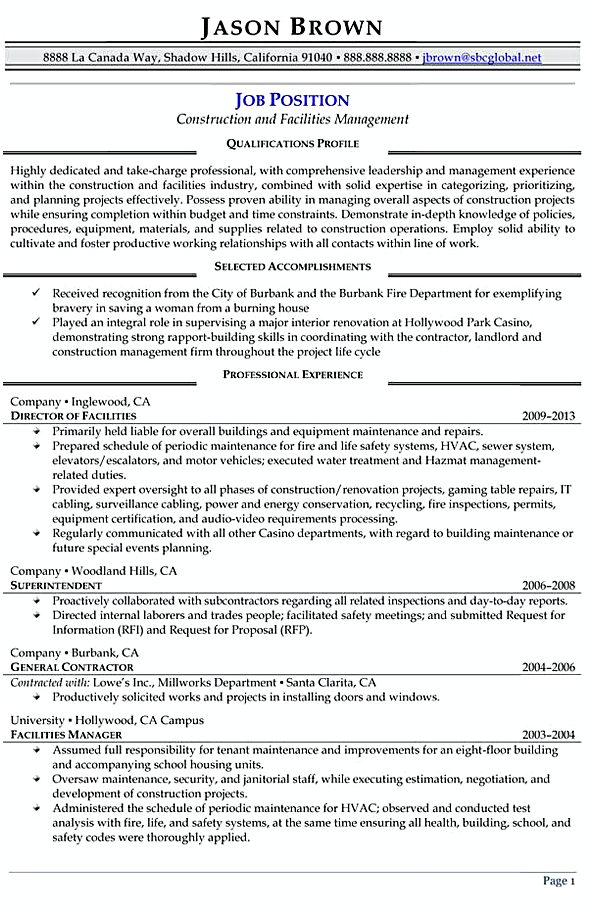 construction and facilities manager resume