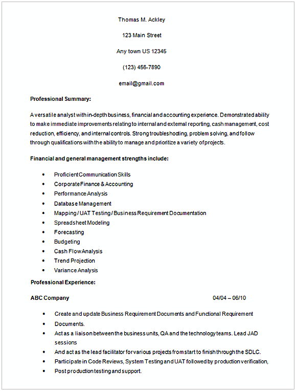 healthcare business analyst resume sample 1