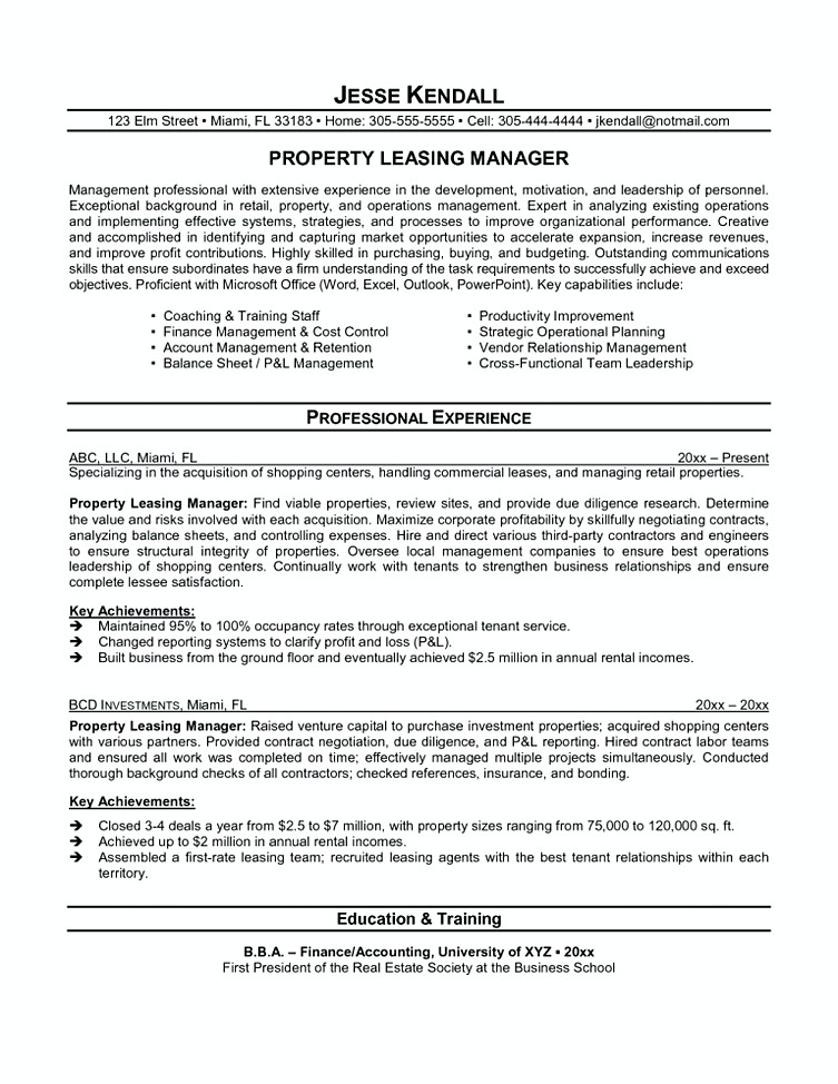 leasing manager resume leasing agent resume