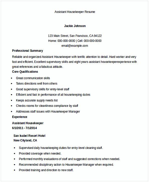 Assistant Housekeeper Resume