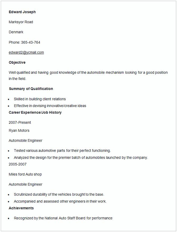 Automobile Engineer Resume Template