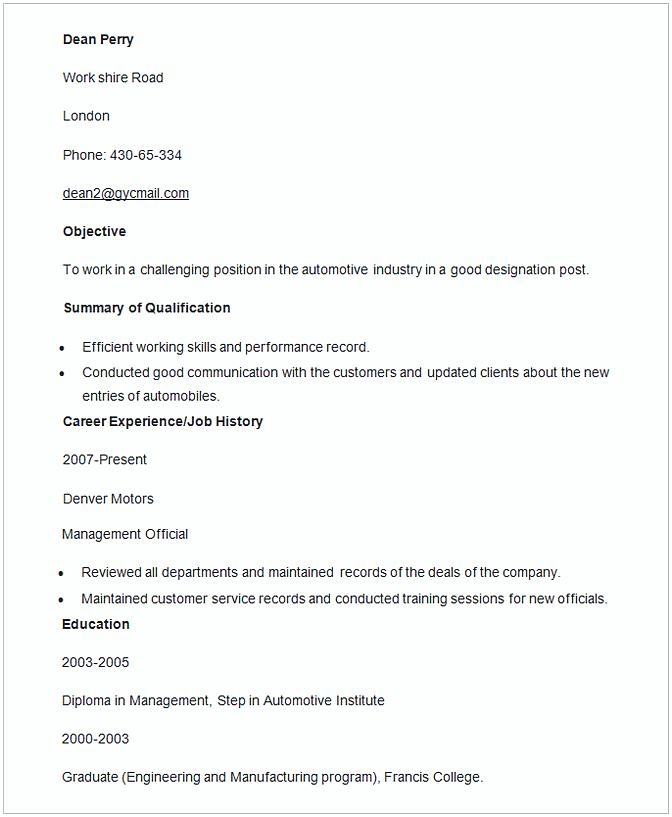 Automobile Manager Resume Template