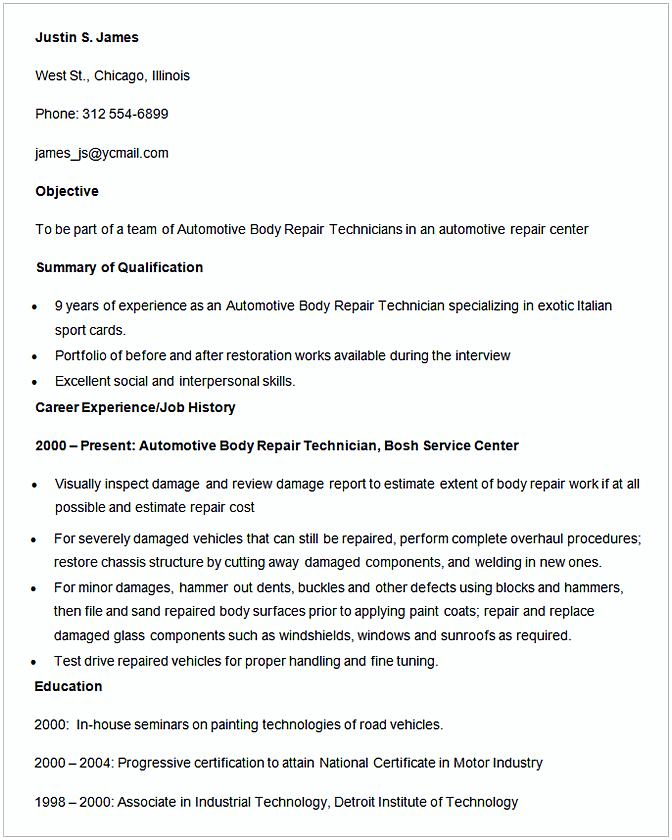 Automotive Body Repair Technician Resume Template