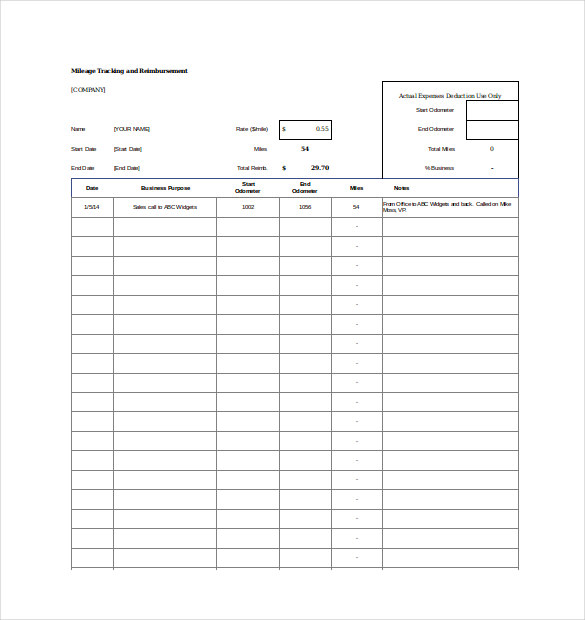 Blank Mileage Tracker Spreadsheet Excel Template