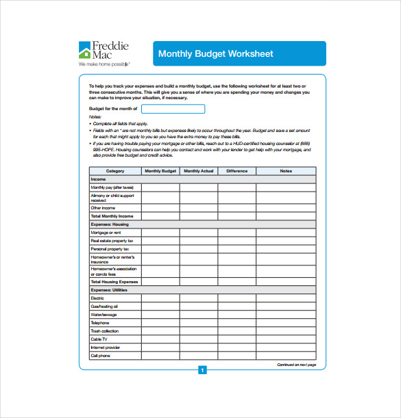 Blank Monthly Budget Spreadsheet PDF Format